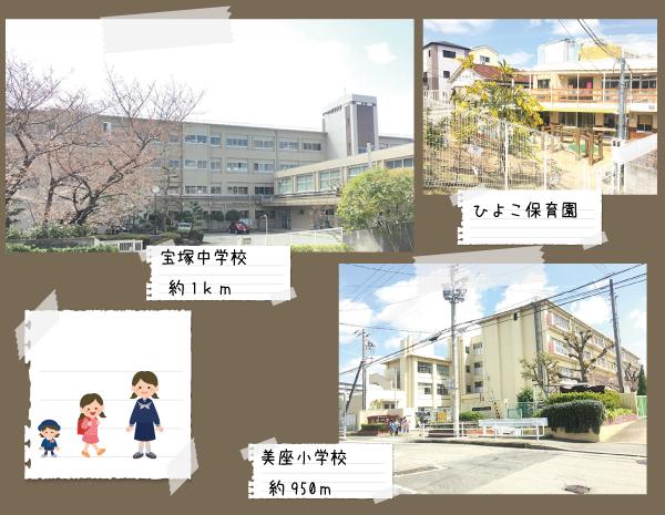 美座小学校まで約950m<br /> 宝塚中学校まで約1km
