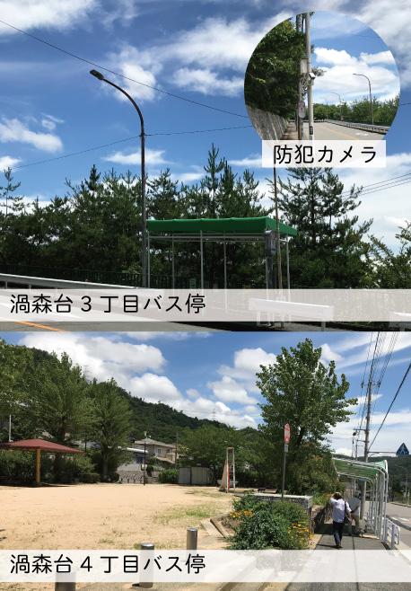 各方面駅へのバスが頻繁に運行されています。<br /> 31系統・38系統利用可能。2系統あるので、かなり便利。<br /> 朝7時 11本運転  <br /> 朝8時10本運転<br /> JR住吉駅・摂津本山駅・甲南山手駅<br /> 阪急岡本駅・阪神住吉駅利用可能<br /> <br /> JRも阪急も阪神もバス運行ルートです。<br /> 夜はだいたい10時台で終わるので、そのときはお迎えかタクシーですね♪<br /> <br /> 渦森台の要所数カ所に見守りカメラが設置されています。<br /> カメラがあるだけでも犯罪抑止になります。
