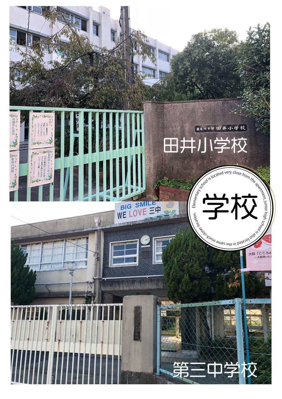 およそ160mで田井小学校、第三中学校までも、900m程度。