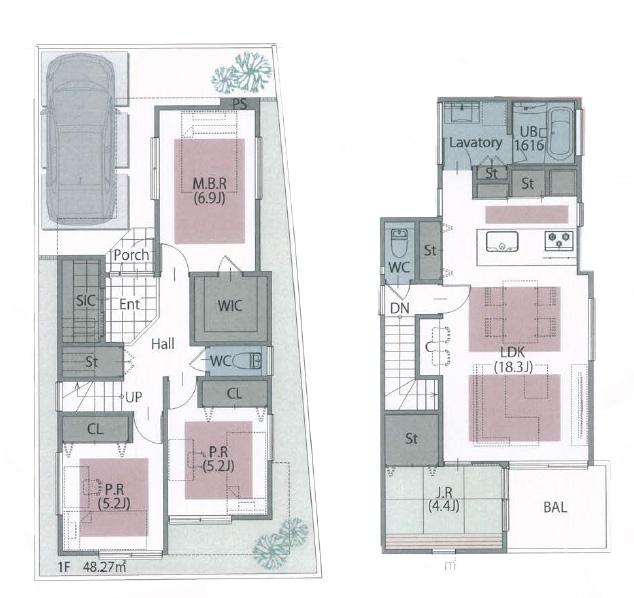 建物価格:1,625万円(参考プラン)<br /> 1階:48.27㎡ 2階:52.08㎡