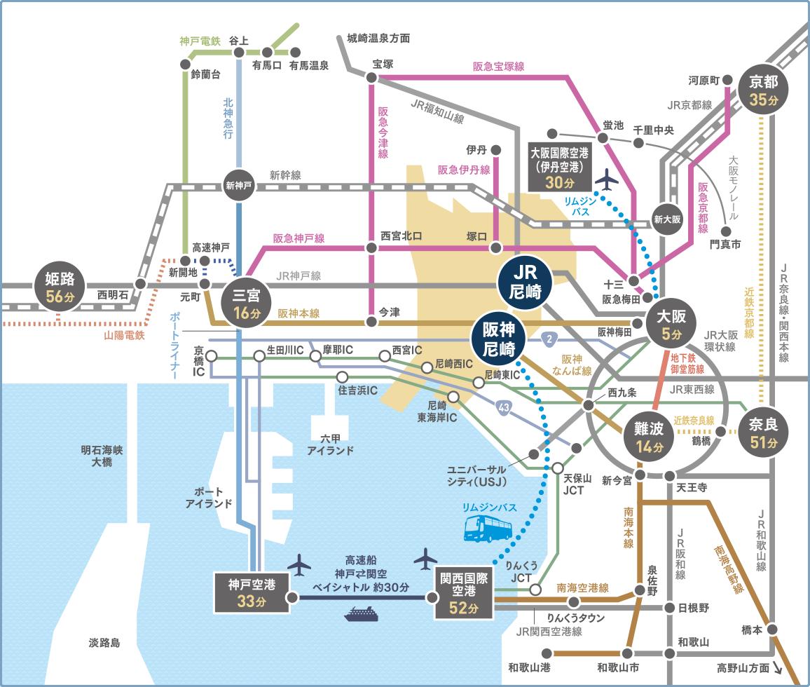 尼崎周辺MAP(尼崎市HPより)